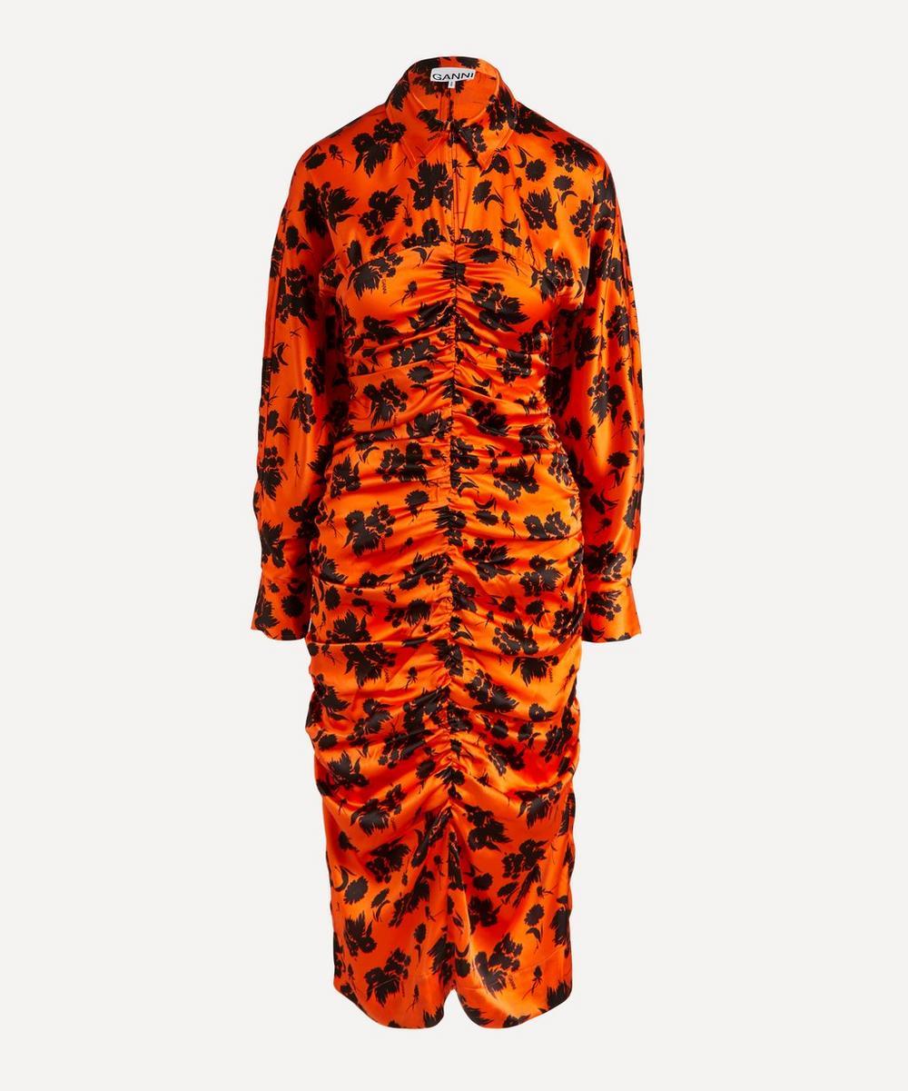 Ganni - Ruched Floral Stretch-Silk Midi-Dress