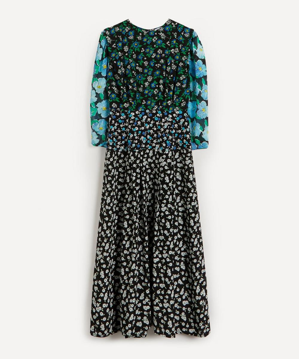 RIXO - Jazz Mix-Print Silk Flared Dress