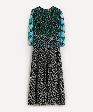 Jazz Mix-Print Silk Flared Dress