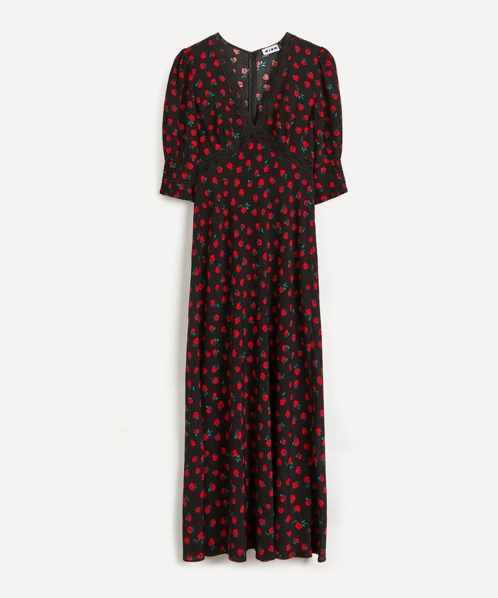 RIXO - Gemma Vintage Rose Midi-Dress