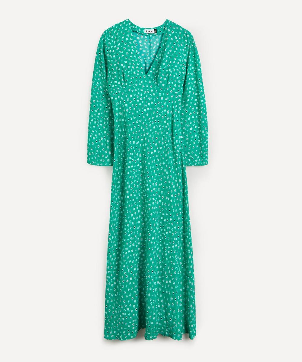 RIXO - Arielle V-Neck Maxi-Dress