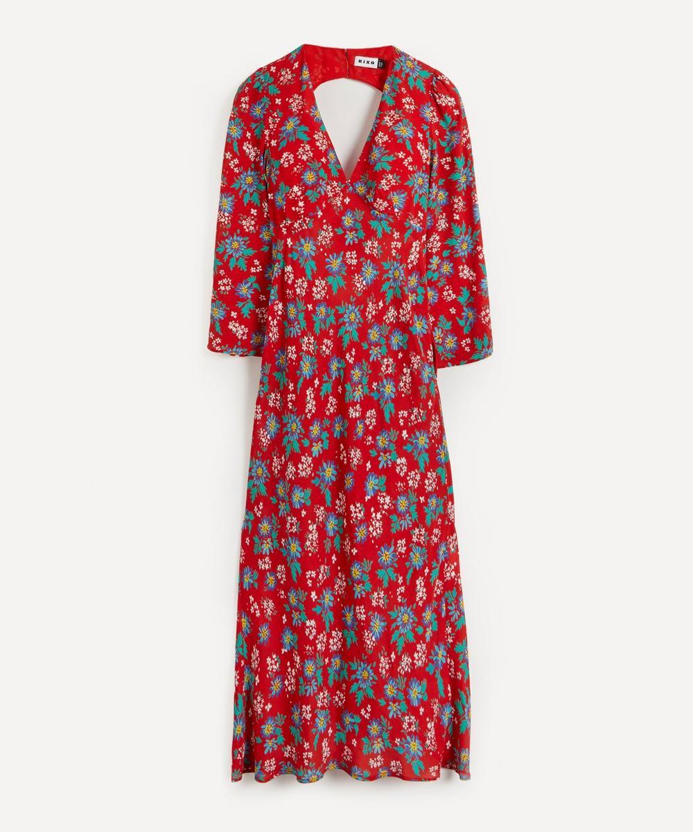 RIXO - Nadine Silk V-Neck Maxi-Dress