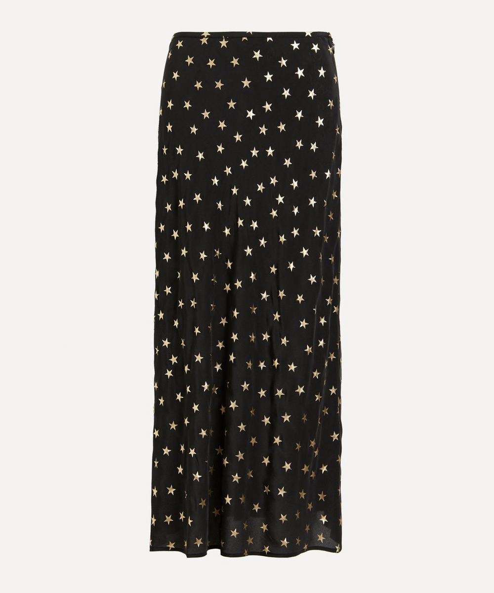 RIXO - Kelly Foil Star Silk Slip Skirt