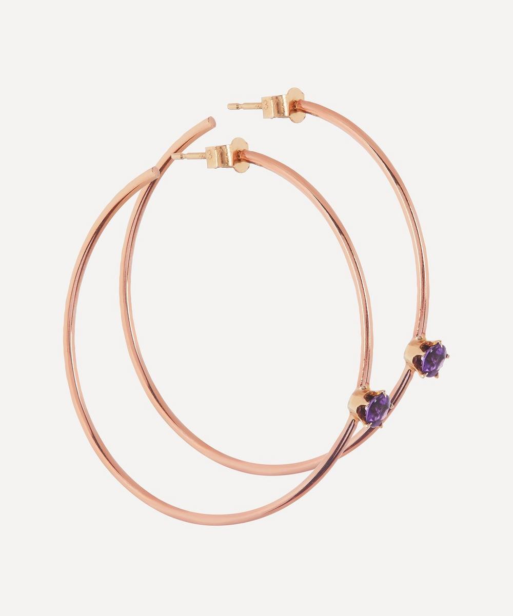 Annina Vogel - Amethyst Rose Gold Hoop Earrings