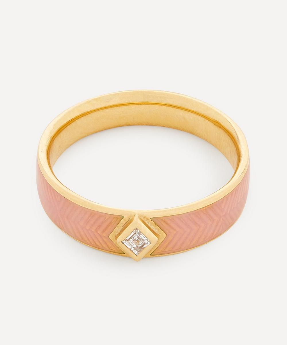 Brooke Gregson - Gold Kite Diamond Engraved Enamel Ring