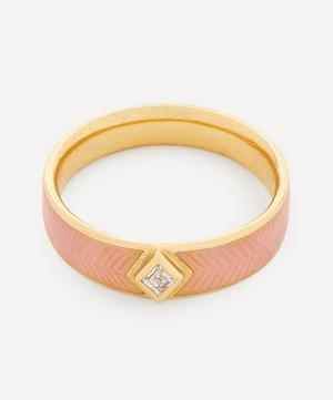Gold Kite Diamond Engraved Enamel Ring
