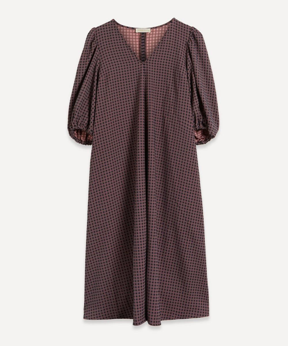 Stine Goya - Mavelin Check Puff-Sleeve Midi-Dress