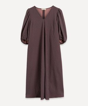 Mavelin Check Puff-Sleeve Midi-Dress