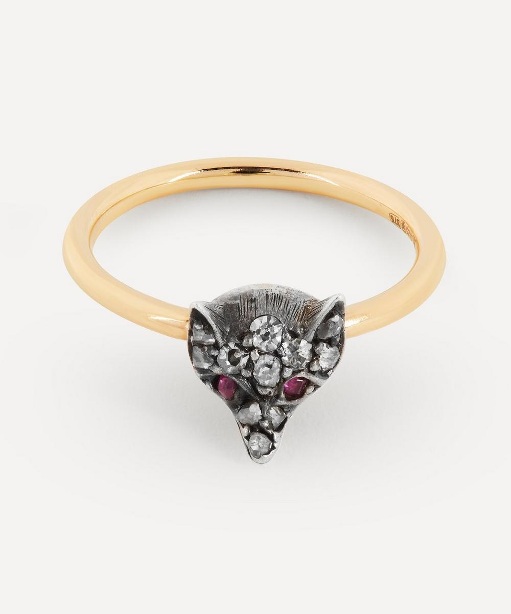 Annina Vogel - Rose Cut Diamond and Ruby Fox Gold Band Ring
