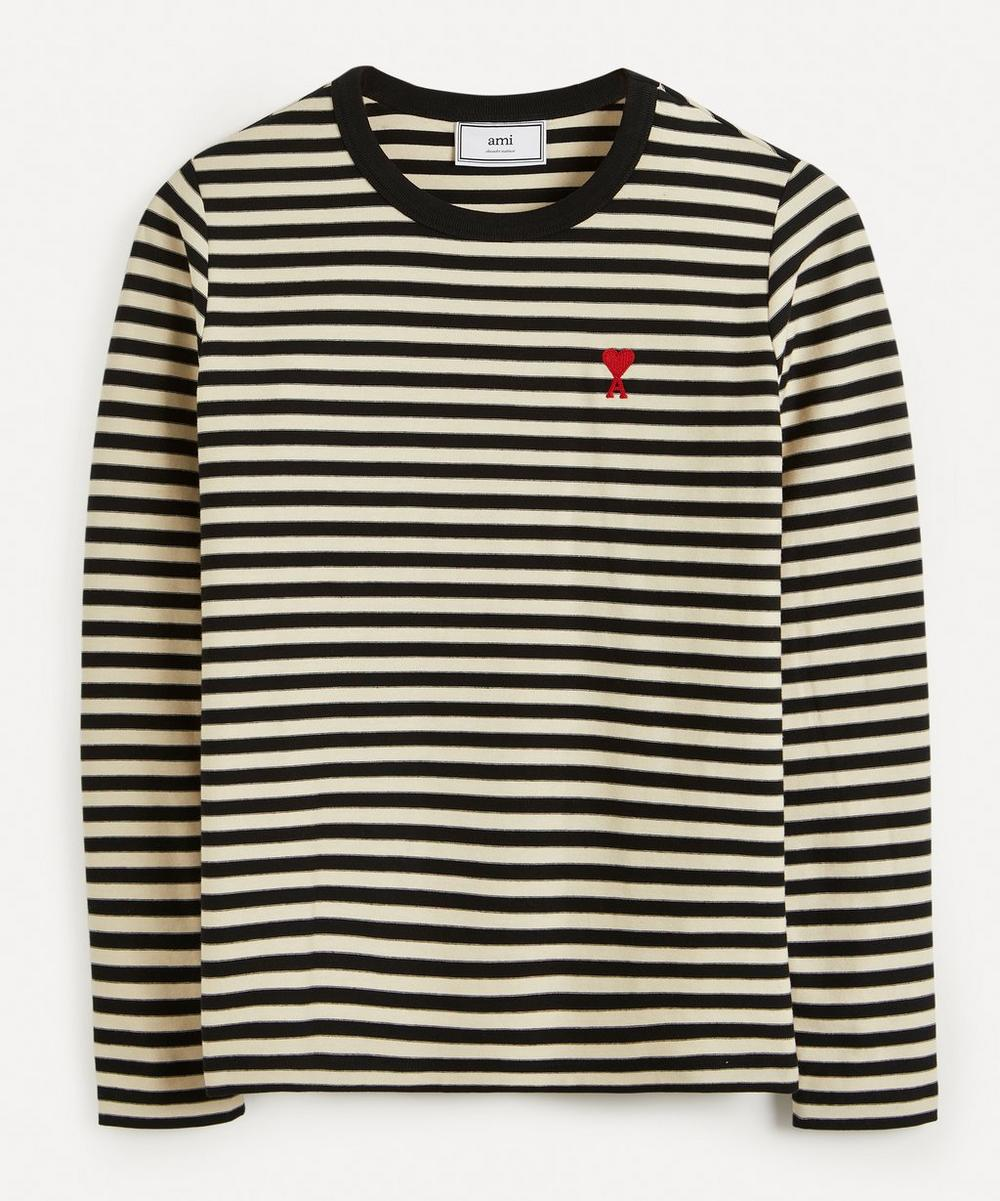 Ami - Logo Stripe Cotton T-Shirt