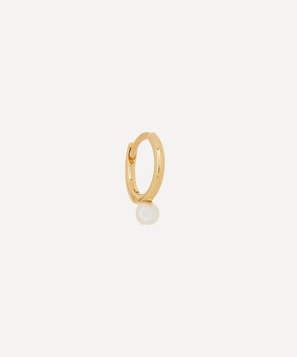 Hirotaka - 18ct Gold Small Akoya Pearl Hoop Earring
