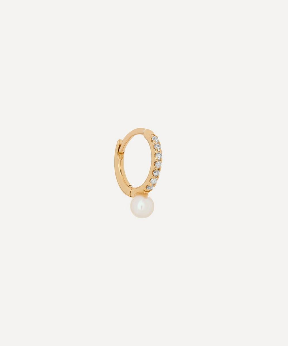 Hirotaka - 18ct Gold Small Diamond and Akoya Pearl Hoop Earring