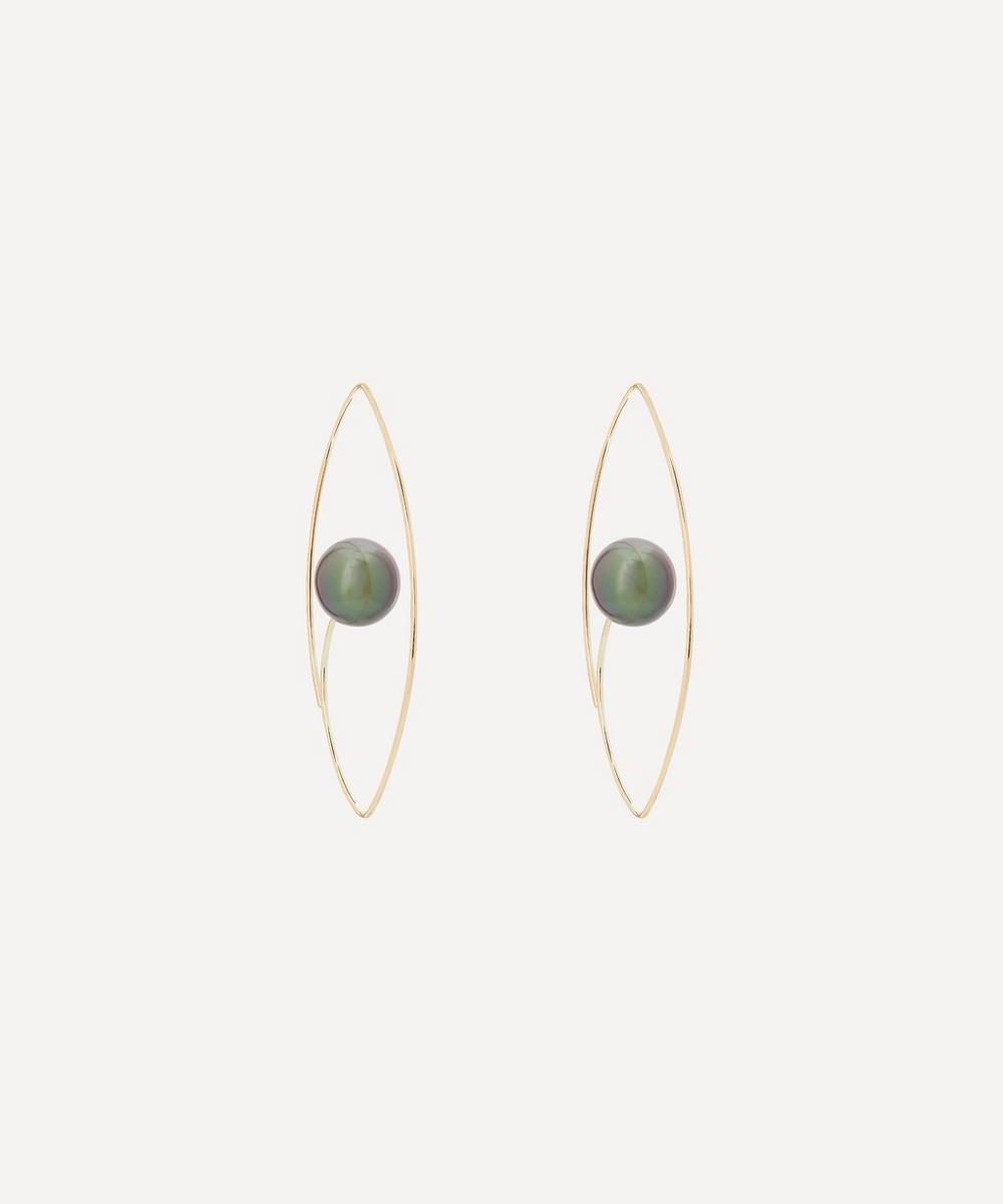 Hirotaka - Gold Large Tahitian Black Pearl Floating Oval Hoop Earrings