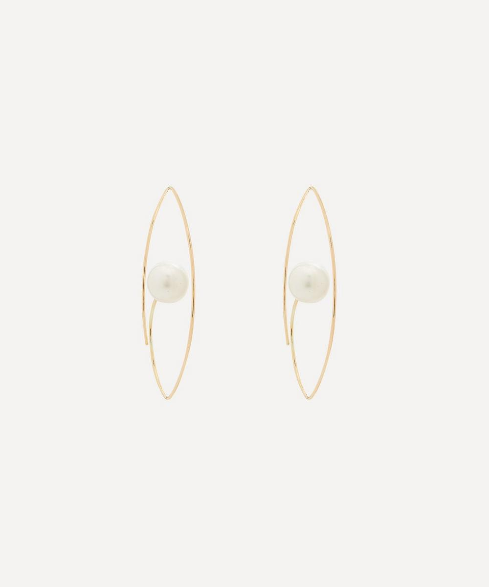 Hirotaka - Gold Large South Sea Pearl Floating Oval Hoop Earrings