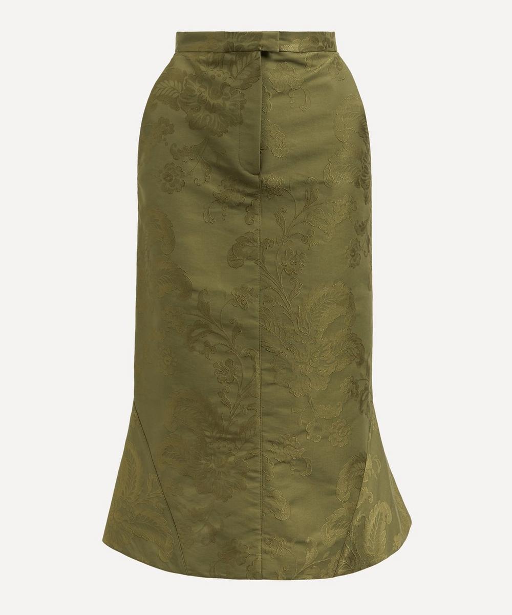 Erdem - Felton Olive Jacquard Midi-Skirt