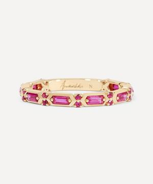 18ct Gold Pink Sapphire Baguette Ring