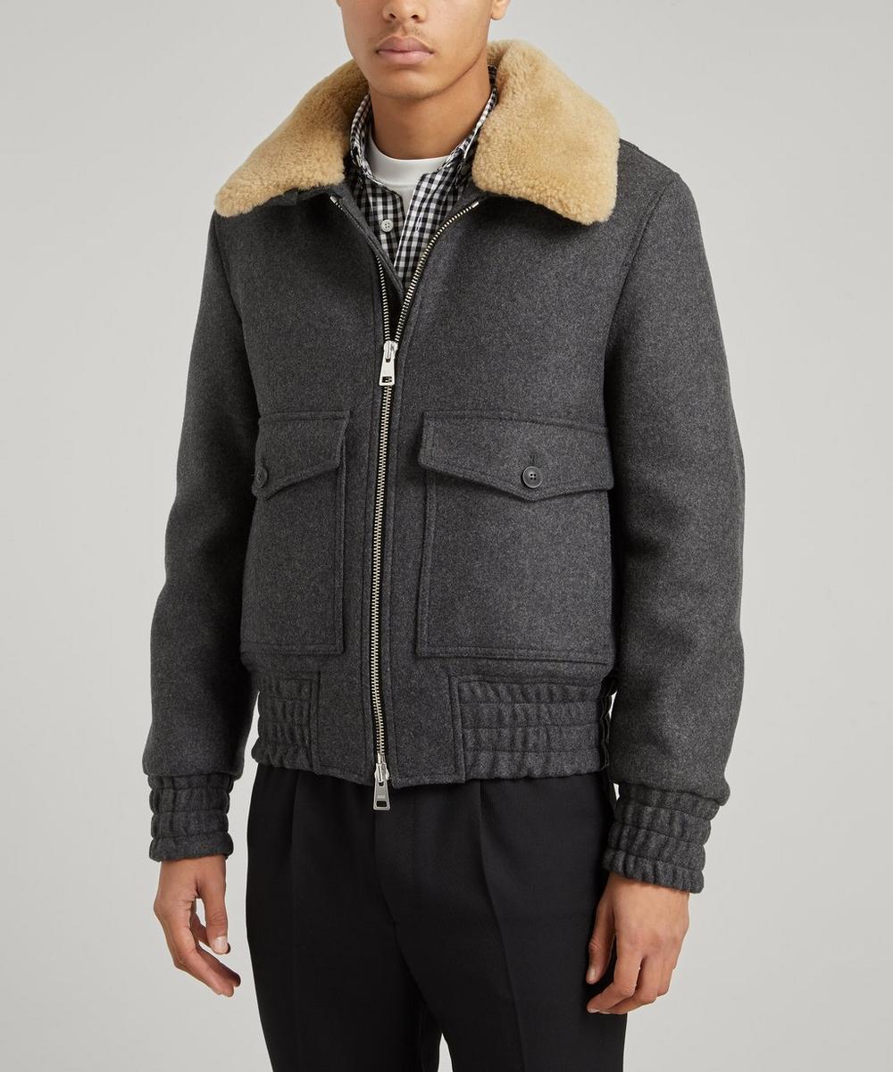 Ami - Shearling Collar Aviator Jacket