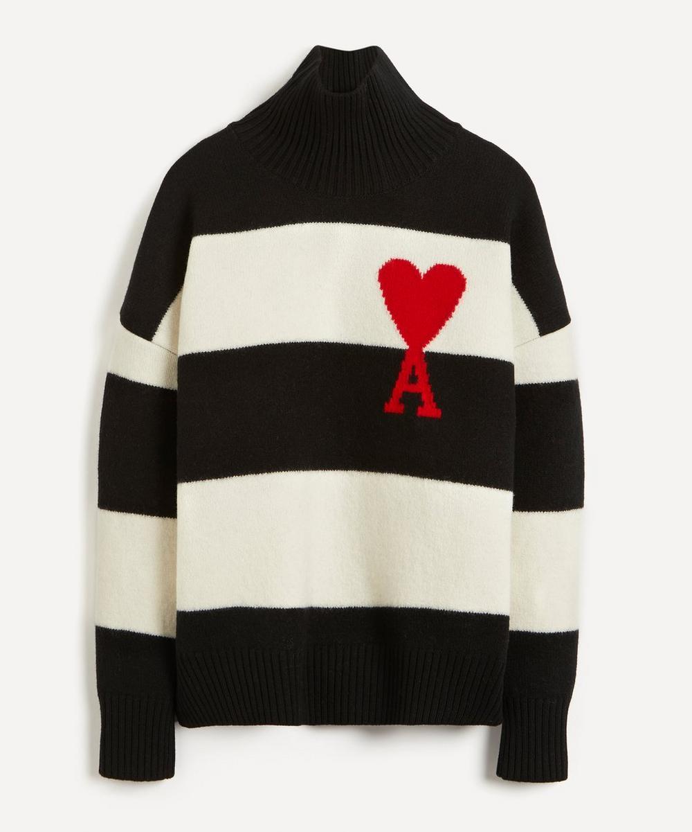 Ami - Block Stripe High-Neck Wool Jumper