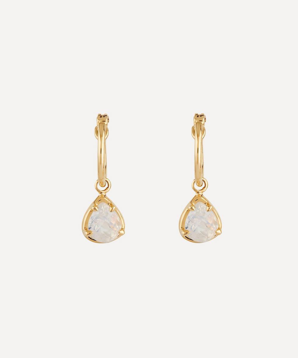 Dinny Hall - Gold Moonstone Drop Hoop Earrings