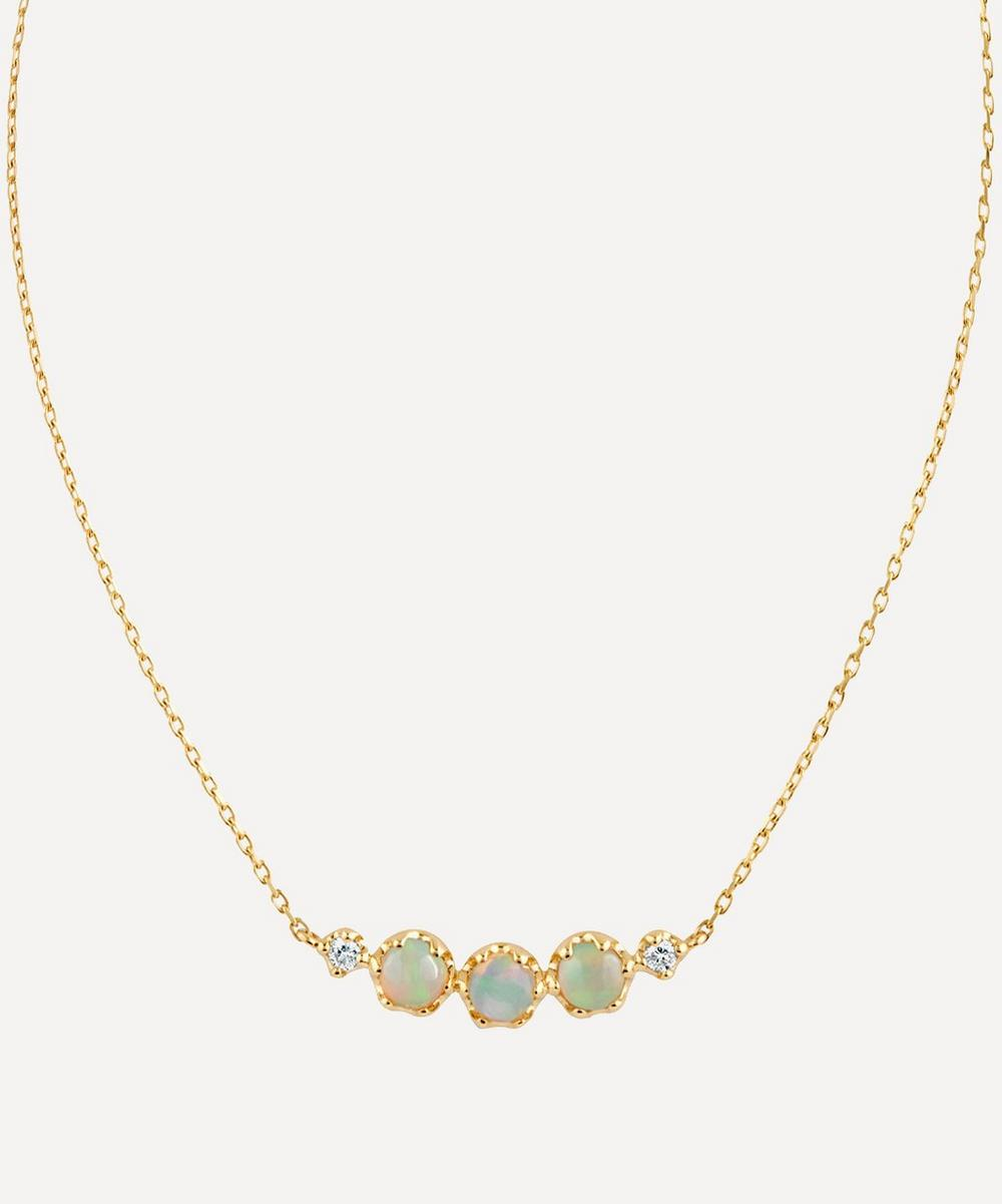 Dinny Hall - Gold Opal and Diamond Scoop Pendant Necklace