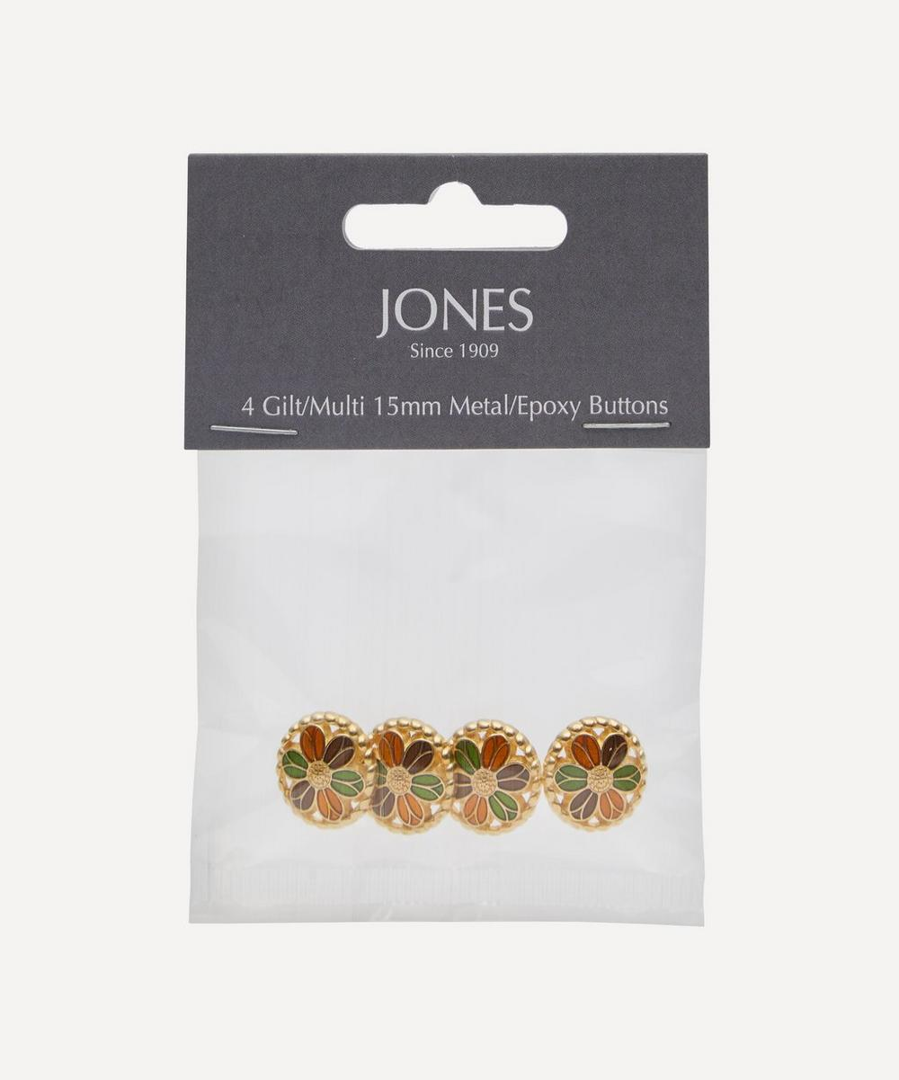 Jones Buttons - Gilt and Resin 15mm Ladies Buttons – Pack of 4