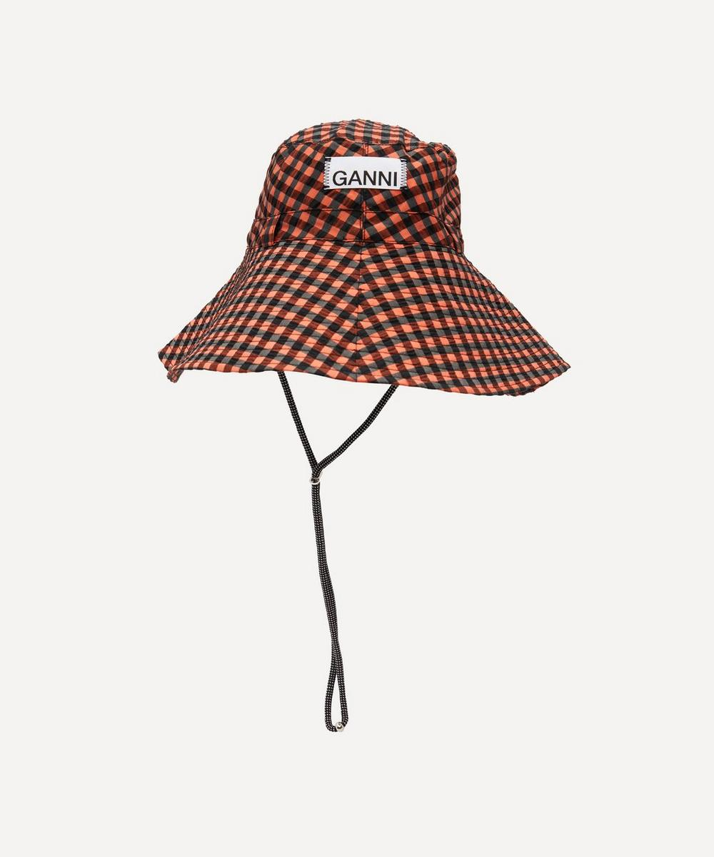 Ganni - Check Print Seersucker Bucket Hat