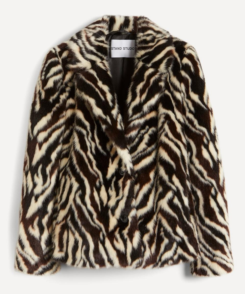 STAND STUDIO - Melody Zebra Faux-Fur Crop Coat
