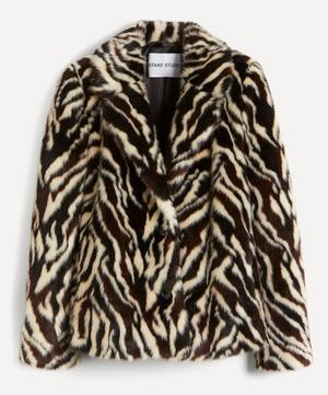 Melody Zebra Faux-Fur Crop Coat