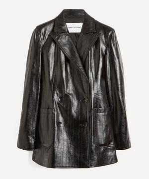 Emerina Double-Breasted Faux-Leather Blazer