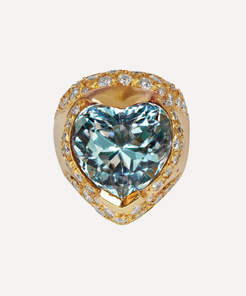 Kojis - Gold Diamond and Aquamarine Heart Ring