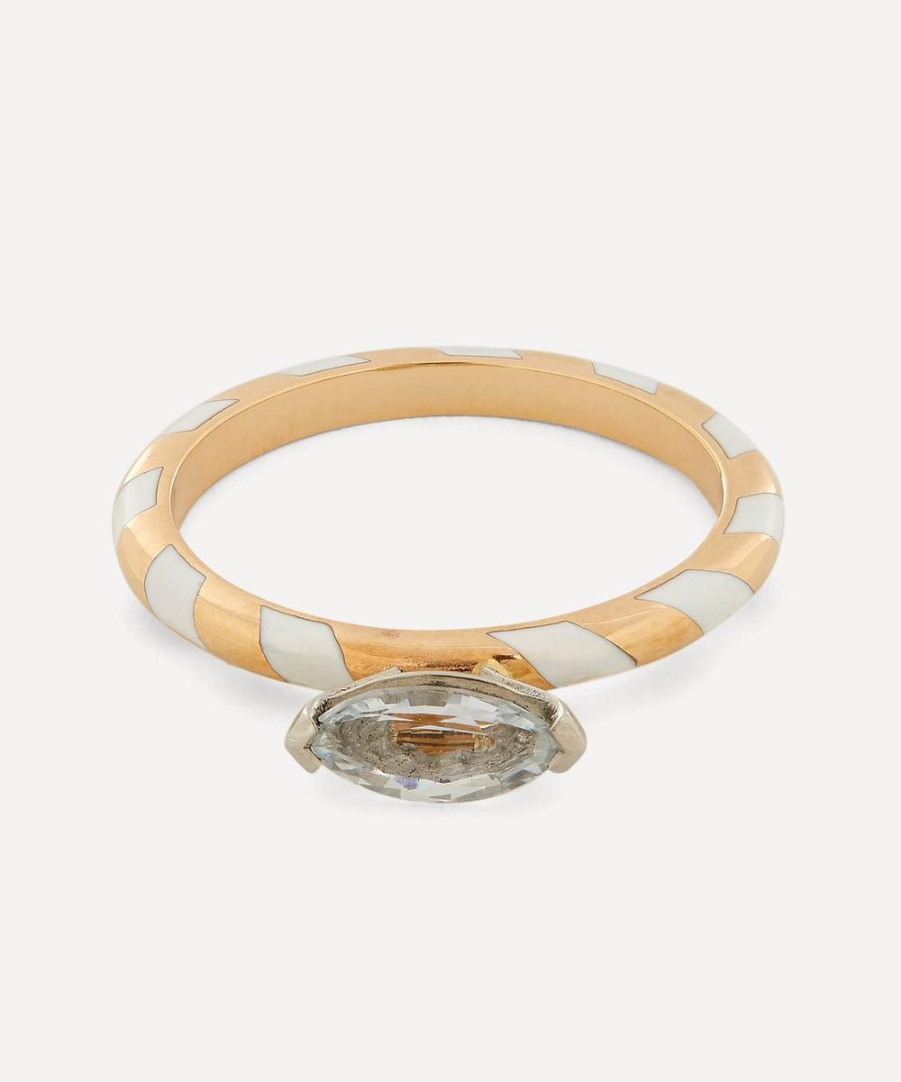 Alice Cicolini - Gold Memphis White Sapphire Single Stripe Candy Ring