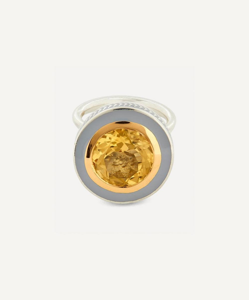 Alice Cicolini - Silver Tile Round Citrine Ring