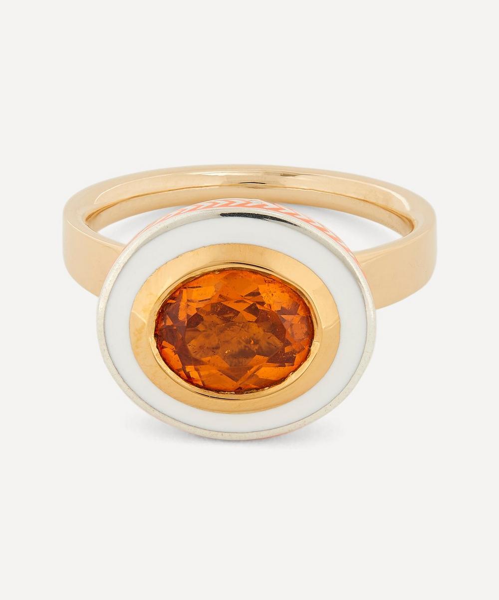 Alice Cicolini - Gold Silver Tile Oval Hessonite Garnet Ring