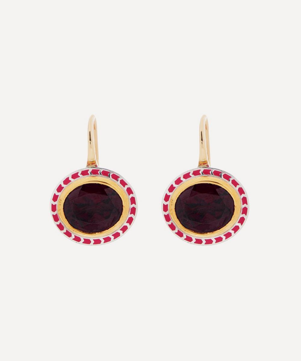 Alice Cicolini - Gold Silver Tile Oval Rhodolite Garnet Drop Earrings