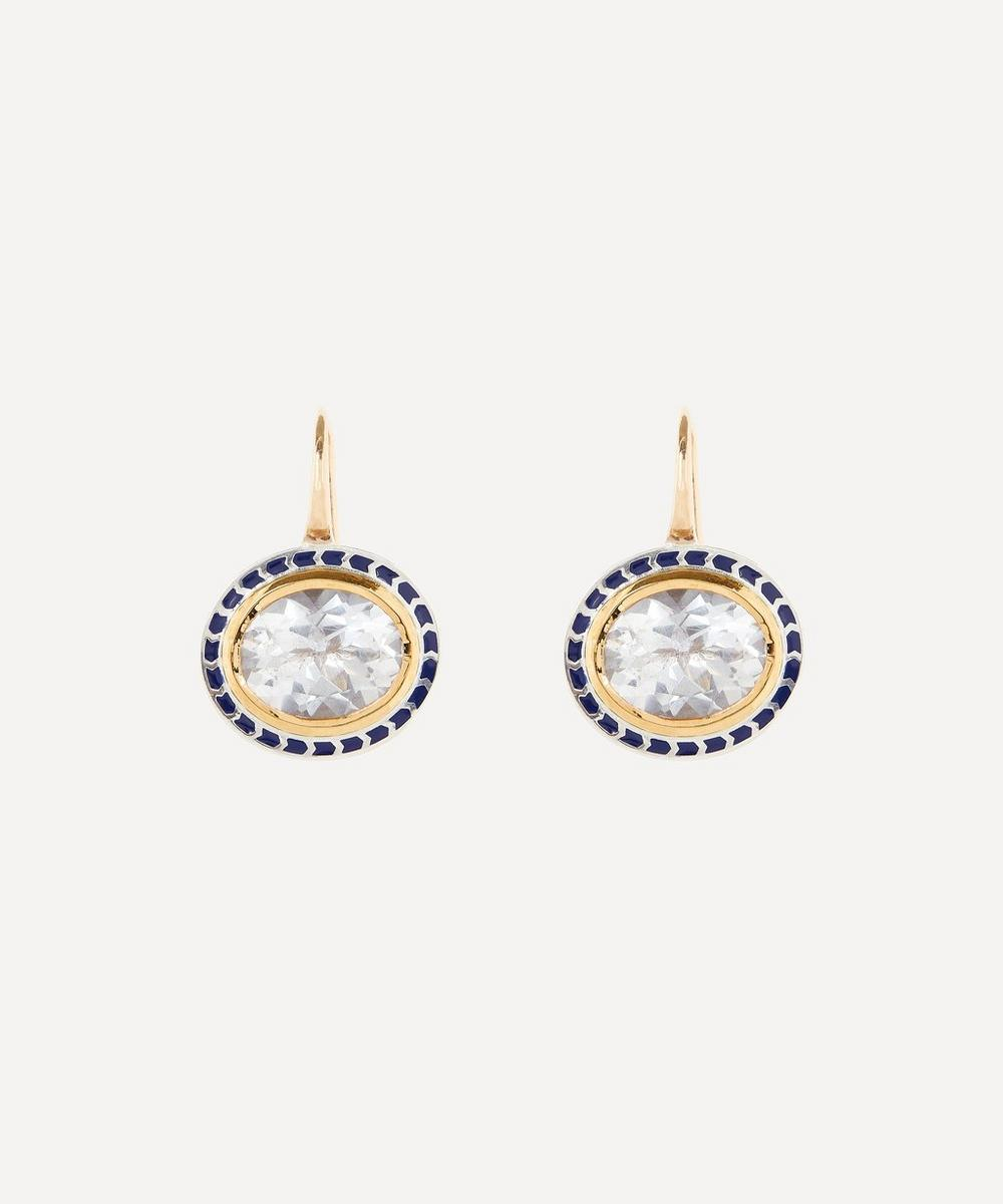Alice Cicolini - Gold Silver Tile Oval Goshenite Drop Earrings