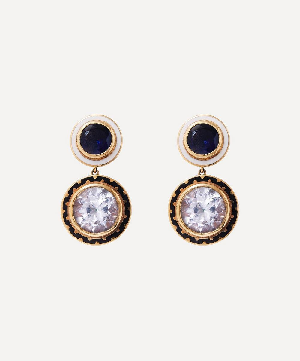 Alice Cicolini - Gold Candy Lacquer Iolite and White Topaz Samarkand Day Drop Earrings