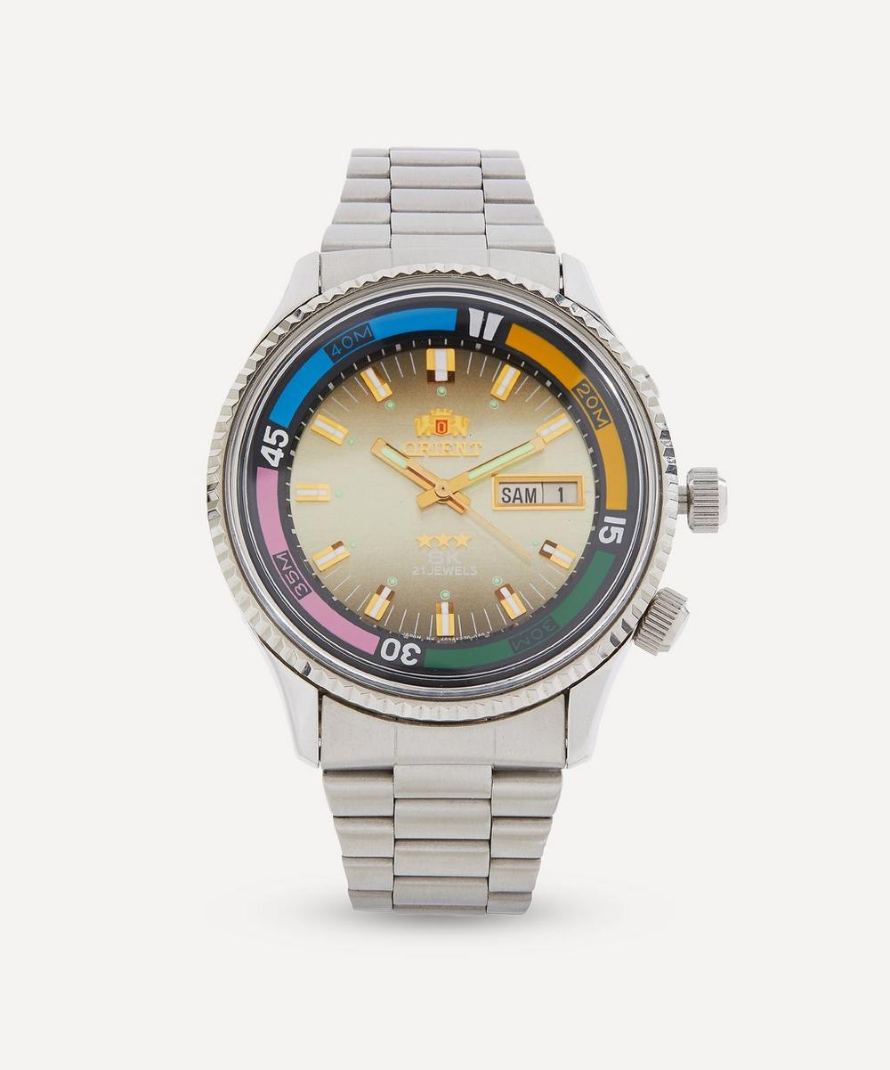Designer Vintage - 1980s Orient Sea King White Metal Watch