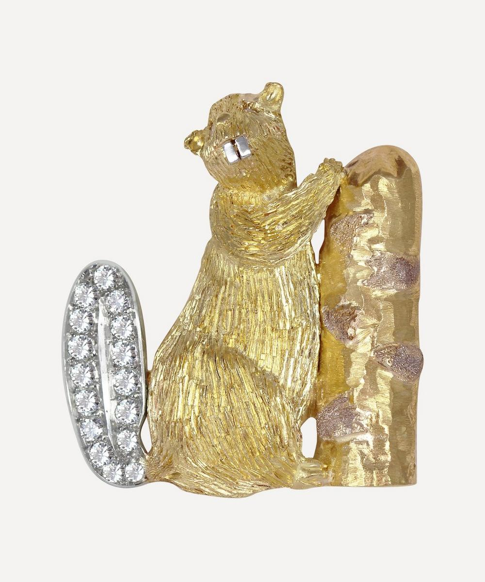 Kojis - Gold Diamond Beaver Brooch