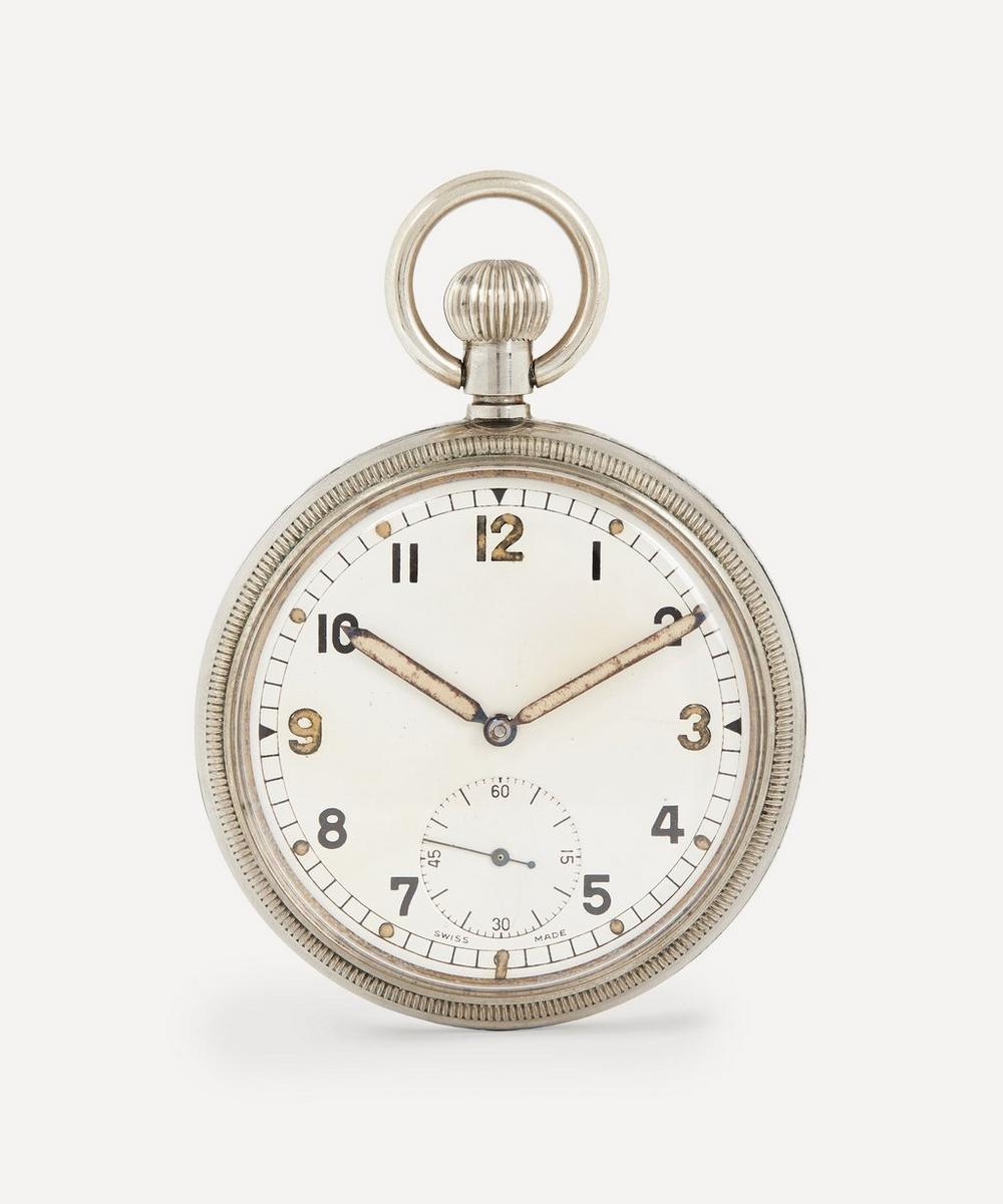 Designer Vintage - 1940s White Metal Military Pocket Watch