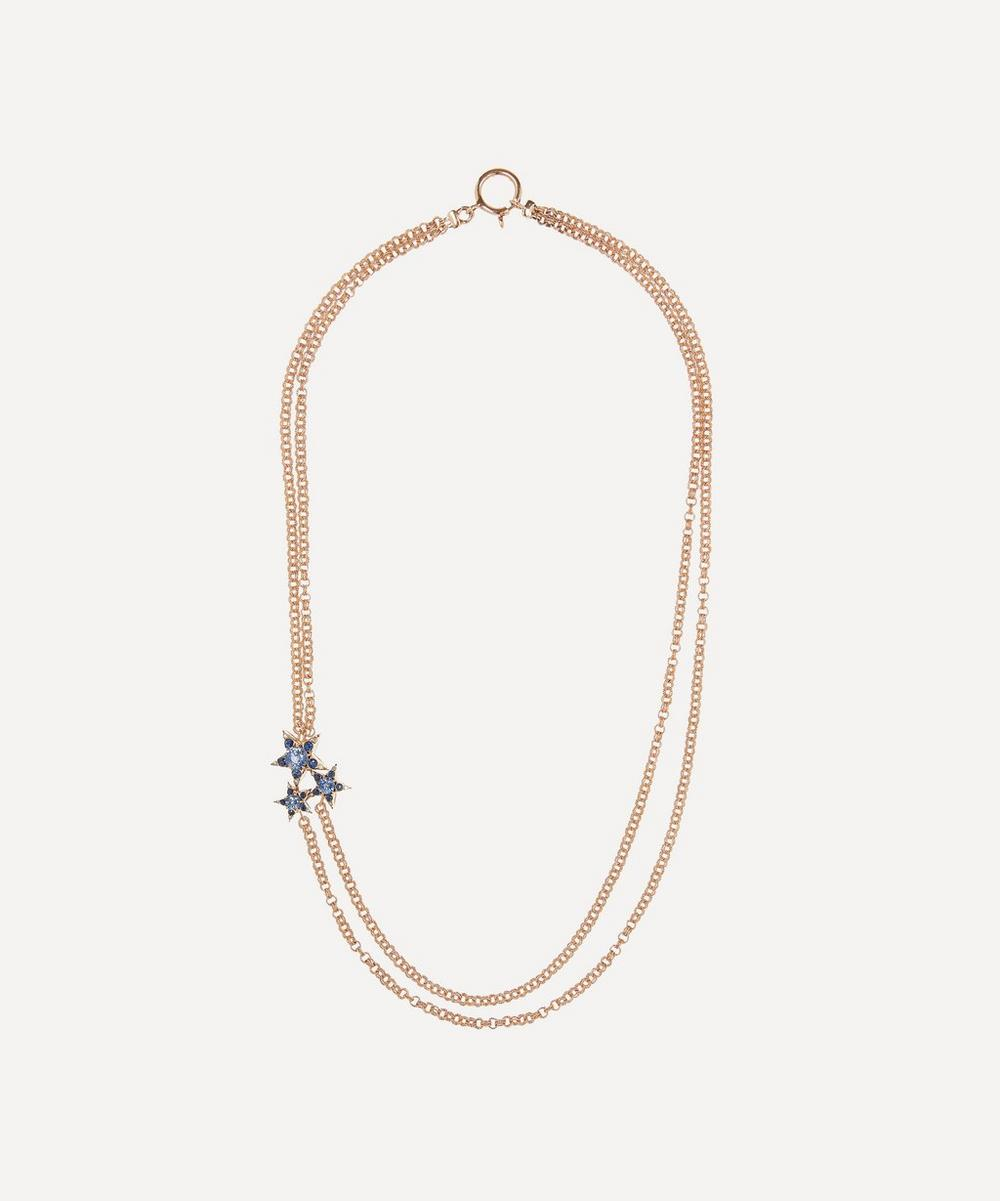 Selim Mouzannar - Rose Gold Istanbul Blue Sapphire and Diamond Star Cluster Necklace