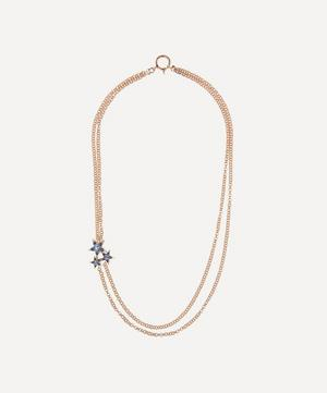 Rose Gold Istanbul Blue Sapphire and Diamond Star Cluster Necklace