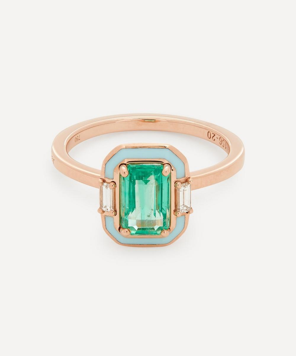 Selim Mouzannar - Rose Gold Gemma Emerald and Diamond Enamel Ring