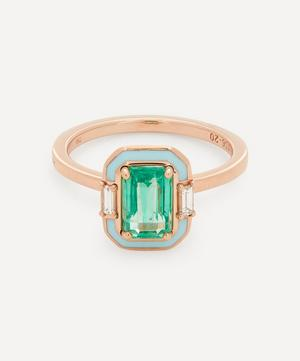 Rose Gold Gemma Emerald and Diamond Enamel Ring