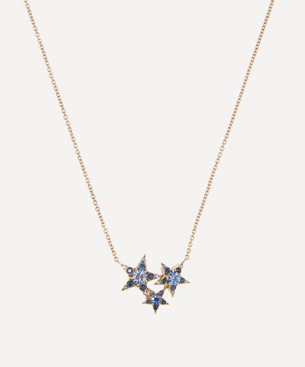 Selim Mouzannar - Rose Gold Istanbul Blue Sapphire and Diamond Star Cluster Pendant Necklace