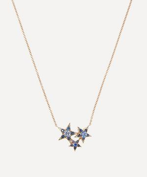 Rose Gold Istanbul Blue Sapphire and Diamond Star Cluster Pendant Necklace