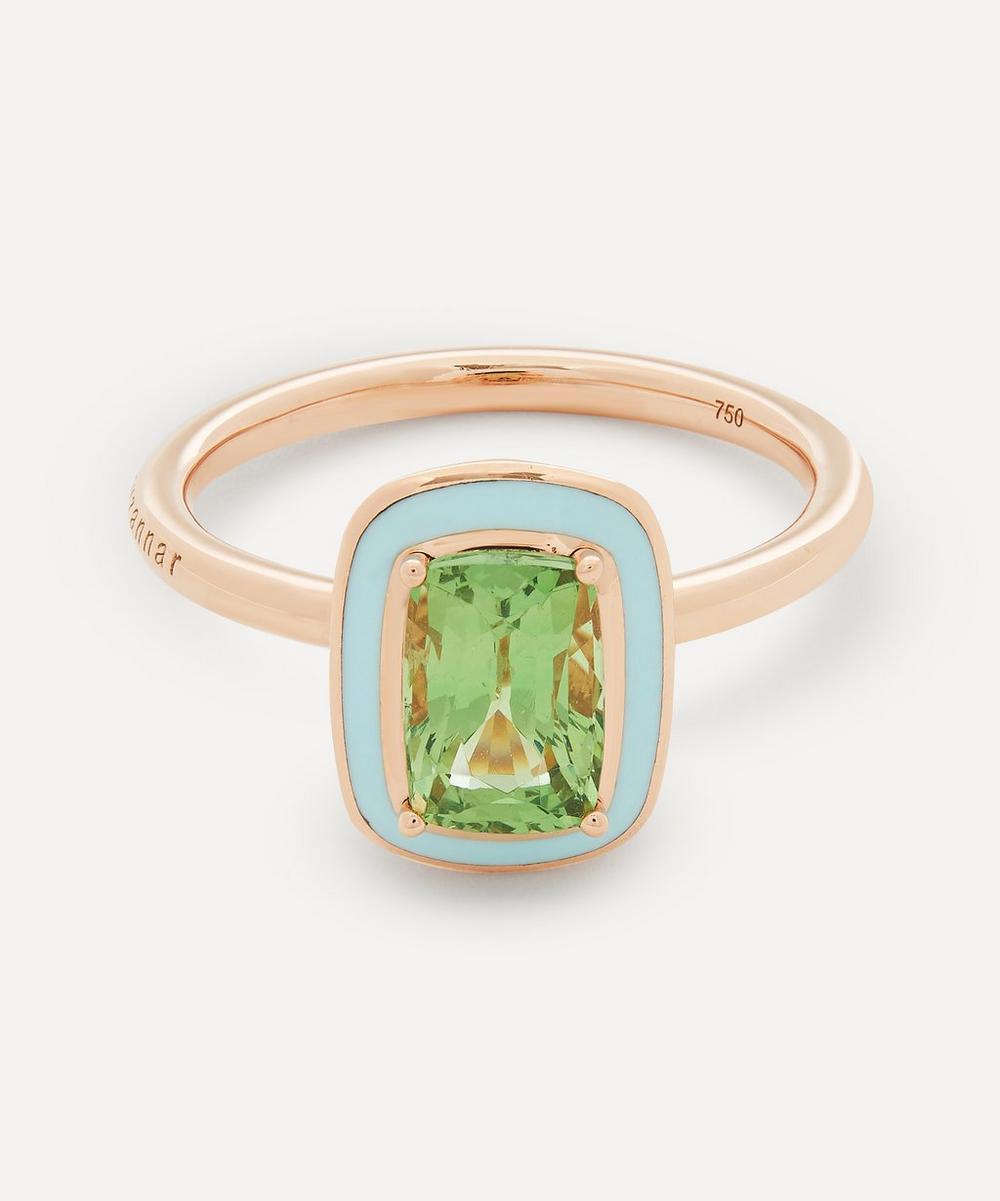Selim Mouzannar - Rose Gold Mina Tsavorite Enamel Ring