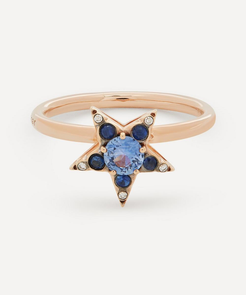 Selim Mouzannar - Rose Gold Istanbul Blue Sapphire and Diamond Star Ring