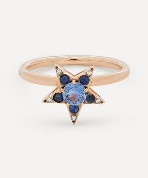 Rose Gold Istanbul Blue Sapphire and Diamond Star Ring