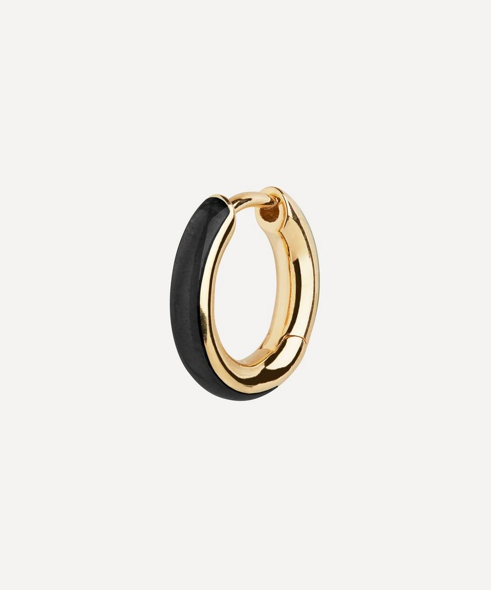 Maria Black - Gold-Plated Kate Ebony Enamel Huggie Hoop Earring