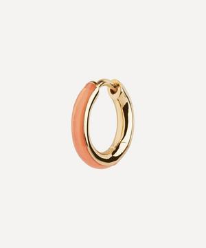 Gold-Plated Kate Coral Enamel Huggie Hoop Earring
